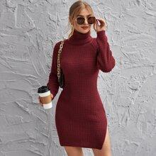 Geteilt  Einfarbig Elegant Pulloverkleider