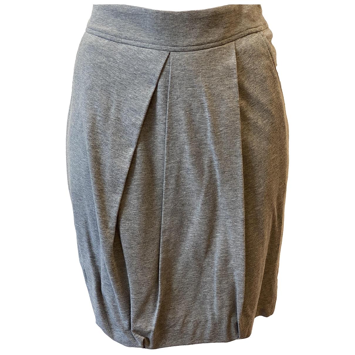 Brunello Cucinelli - Jupe   pour femme en coton - elasthane - gris