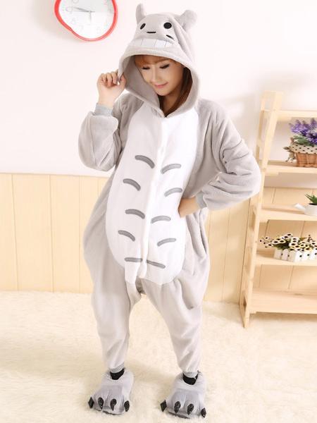 Milanoo Kigurumi Pajamas Totoro Onesie For Adult Fleece Flannel Gray Anime Cosplay Costume Halloween