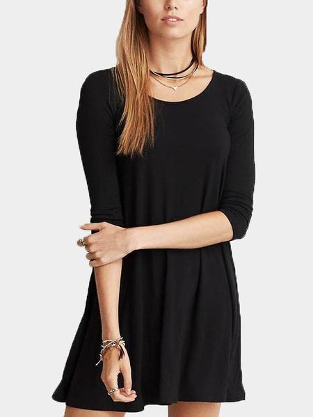 Yoins Black Lace-up Backless Half Sleeves Mini Dress