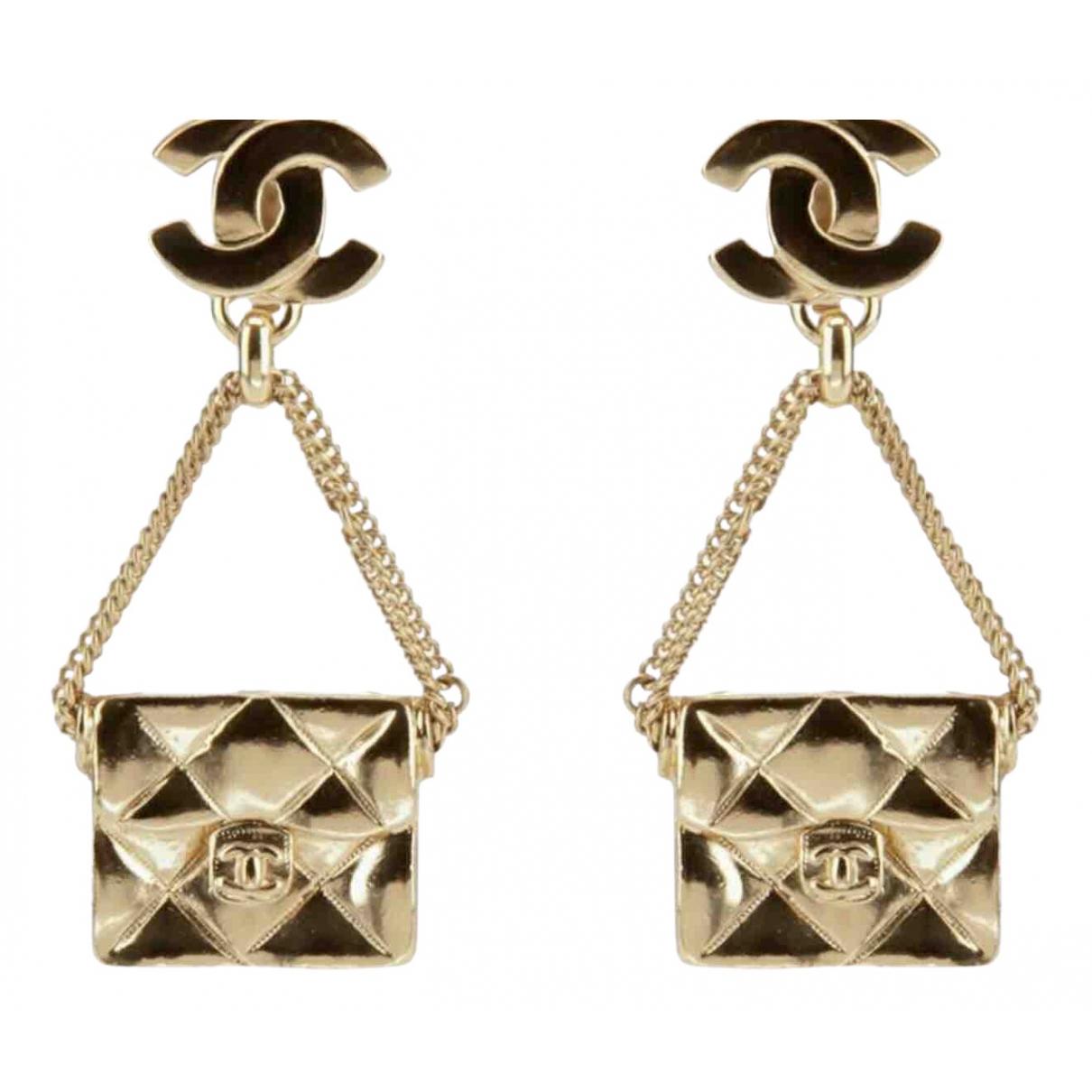 Chanel - Boucles doreilles   pour femme en plaque or - dore