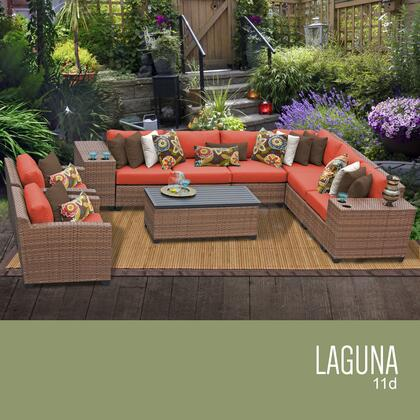 LAGUNA-11d-TANGERINE Laguna 11 Piece Outdoor Wicker Patio Furniture Set 11d with 2 Covers: Wheat and