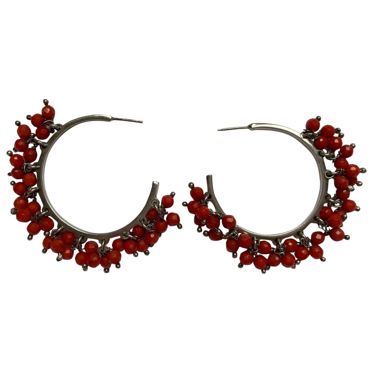 - Boucles doreilles Creoles pour femme en metal - rouge