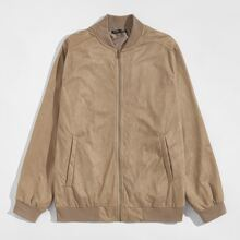 Men Raglan Sleeve Zipper Front Suede Jacket