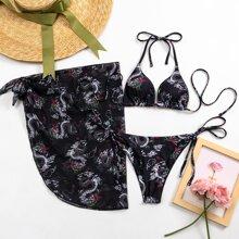 3 Packe dreieckiger Bikini Badeanzug mit chinesischen Drachen Muster