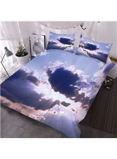 Purple Sky And Purple Clouds 3D Printed 3-Piece Polyester Comforter Sets
