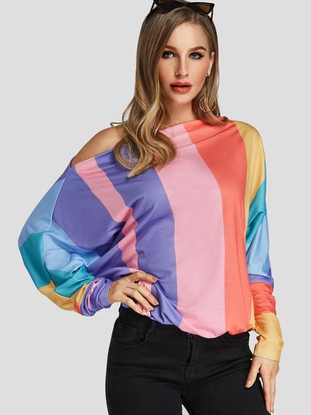 Yoins Color Block One Shoulder Long Sleeves Top