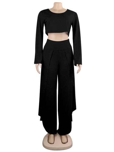 Milanoo Two Piece Sets Grey Long Sleeve Crop Top With High Slit Wide Leg Pant Oversized Women Outfit