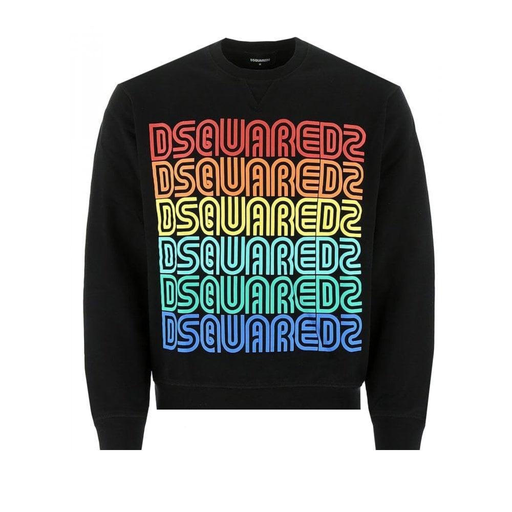 Dsquared2 Multi Color Vintage Sweatshirt Colour: BLACK, Size: SMALL