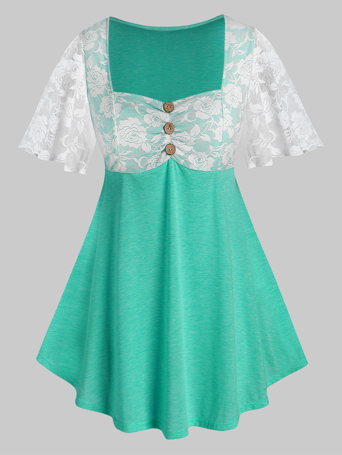 Plus Size Lace Sheer Flutter Sleeve Square Neck Tee