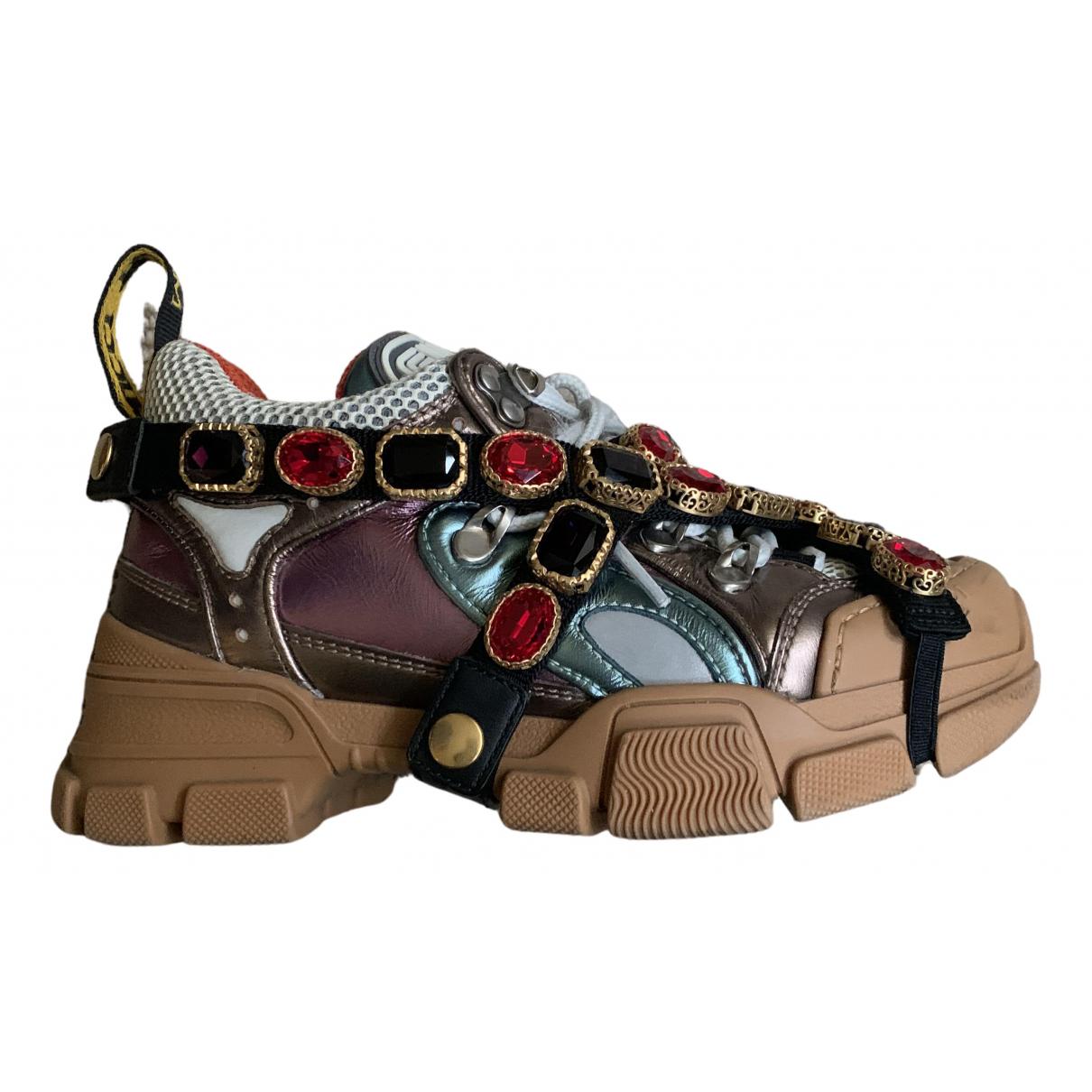 Gucci FlashTrek HighTop Multicolour Leather Trainers for Women 34.5 EU