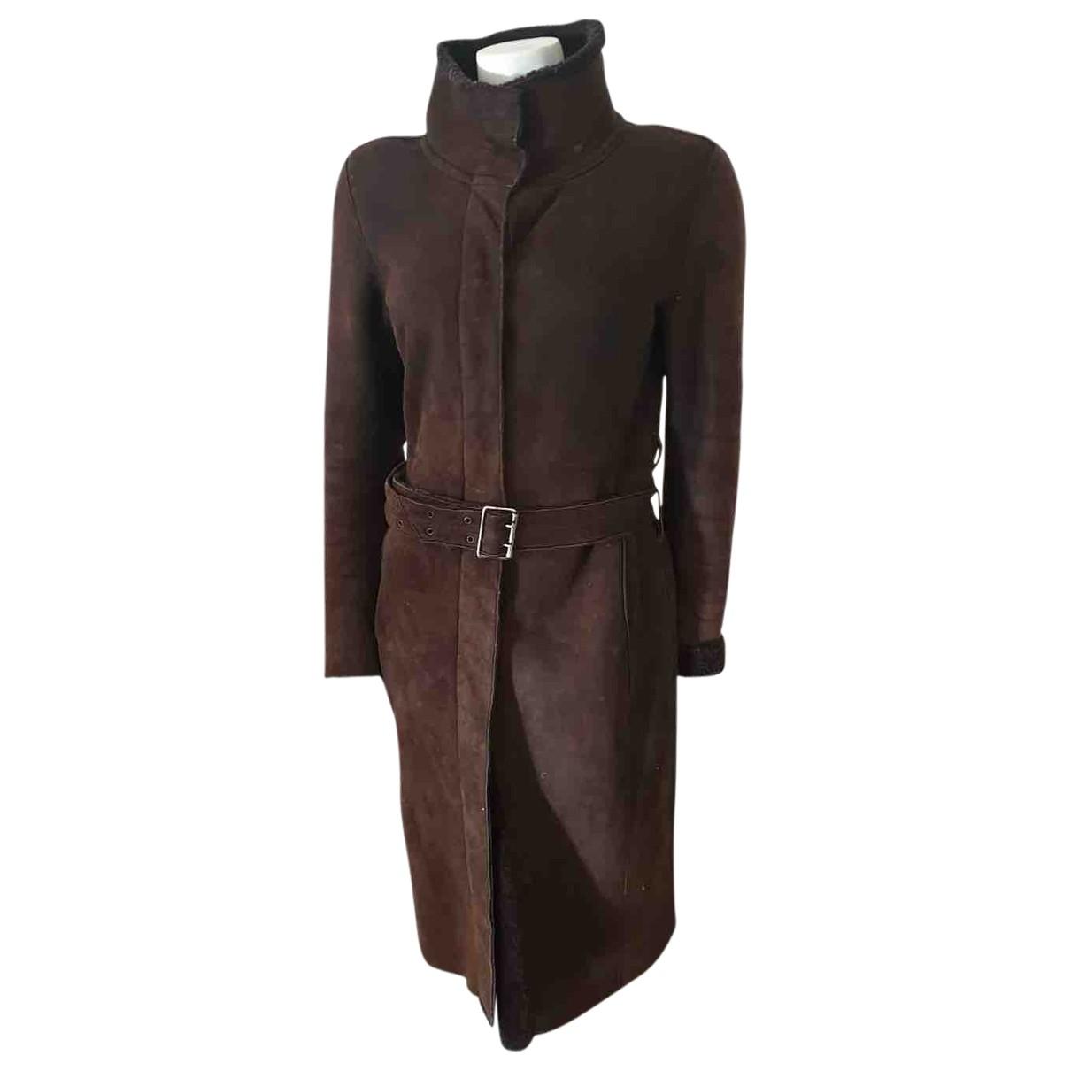 Burberry - Manteau   pour femme en mouton - marron