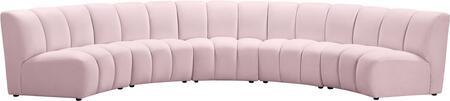 638PINK-5PC Infinity Pink Velvet 5pc. Modular