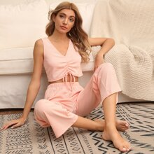Rib-knit Ruched Tie Front Lounge Set
