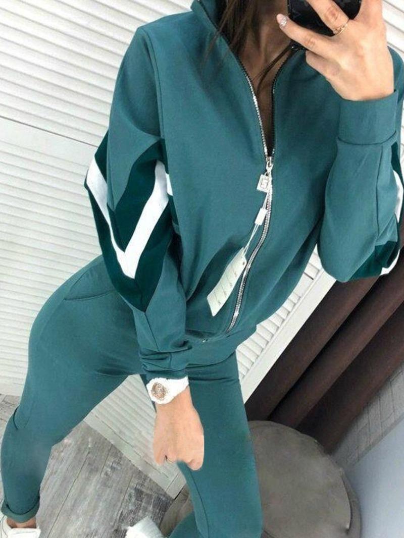 Ericdress Cotton Blends Color Block Running Zipper Clothing Sets