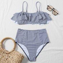 Bikini Badeanzug mit Streifen und Rueschenbesatz