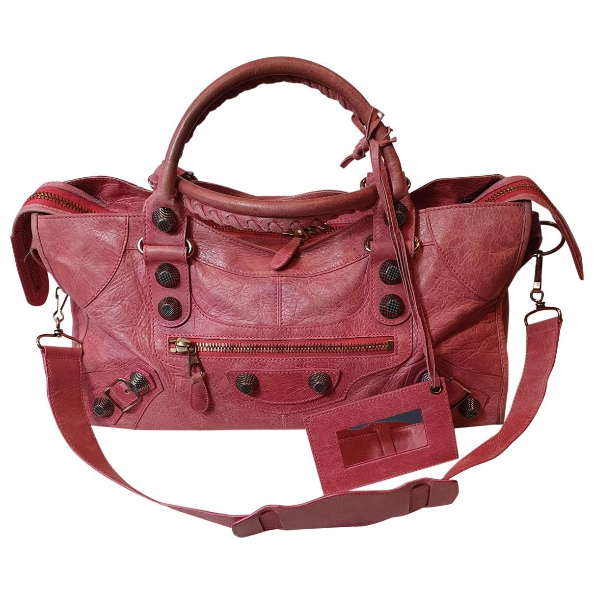 Balenciaga - Sac a main City pour femme en cuir - rose