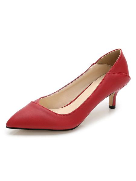 Milanoo Kitten Heel Pumps Mujeres Zapatos de vestir Zapatos de tacon puntiagudo