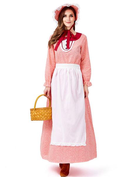 Milanoo Disfraz Halloween Disfraces retro de mujer pequeña Arcos Delantal con estampado floral Vestido de disfraces de Halloween