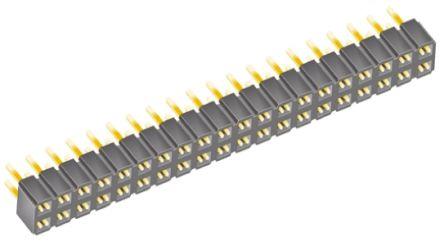 Samtec , SLW 2.54mm Pitch 40 Way 2 Row Straight PCB Socket, Through Hole, Solder Termination