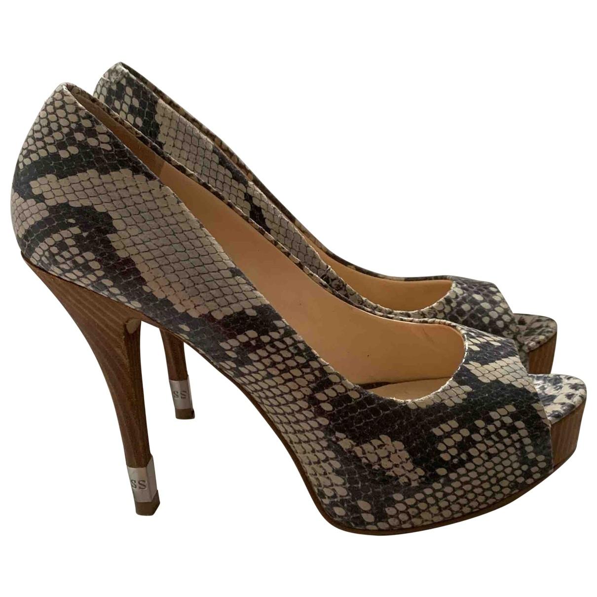 Guess \N Ecru Leather Heels for Women 39 EU