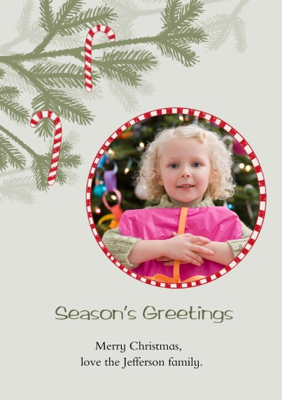 Christmas Photo Cards 5x7 Cards, Premium Cardstock 120lb with Rounded Corners, Card & Stationery -Candy Cane Ornaments