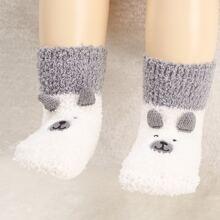 Kleinkind Kinder Socken mit Karikatur Stickereien