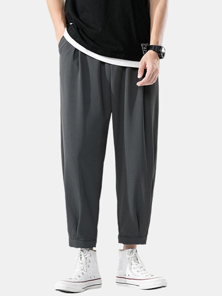 Mens Ice Silk Solid Color Light Casual Loose Drawstring Elastic Waist Pants