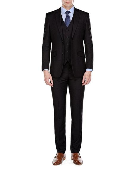 Men's Single Breasted 2 Button Black Slim Fit 3 Piece Suits