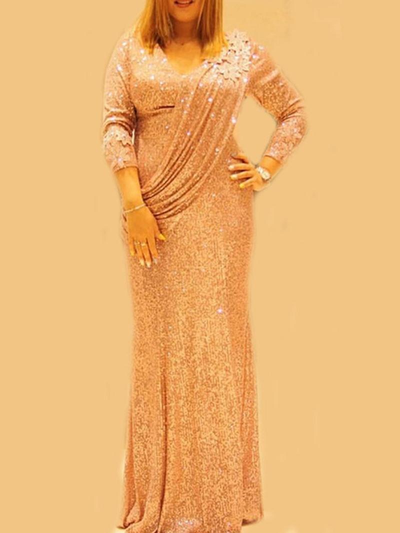 Ericdress Long Sleeve Sequins V-Neck Spring Regular Dress