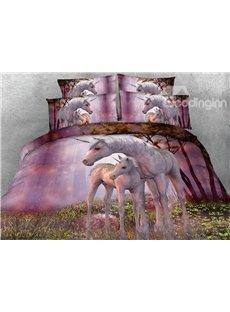 Pinky Unicorns 3D 4-Piece Animal Print Bedding Sets Polyester 800 Thread-Count
