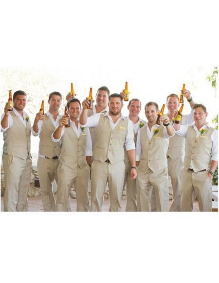 Mens Beach Wedding Attire Suit Menswear Gold 199