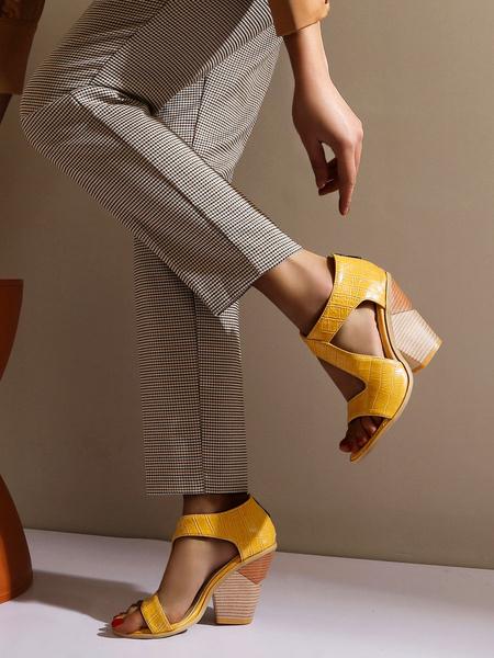 Milanoo High Heel Sandals Womens Open Toe Chunky Heel Sandals Vintage Sandals