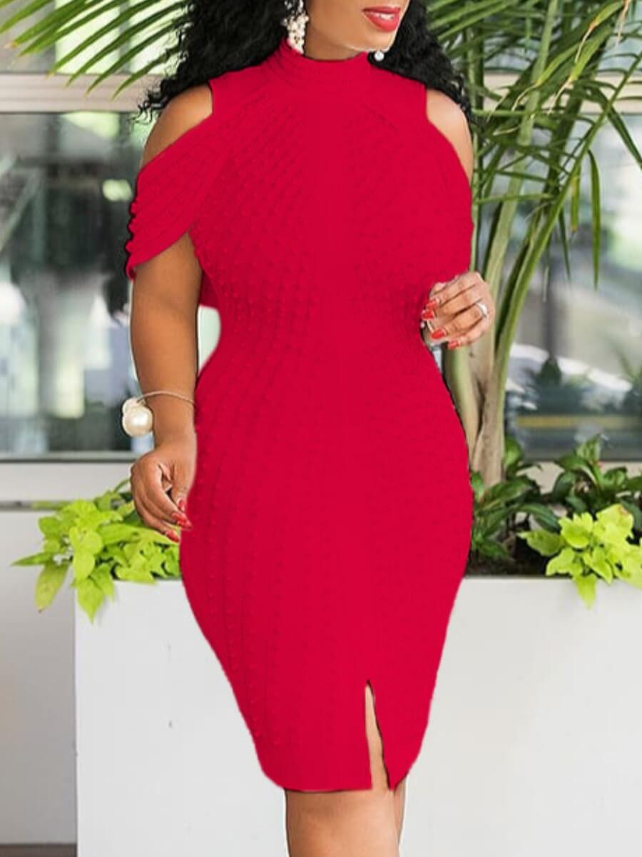 LW Lovely Sexy Off The Shoulder Red Knee Length Dress