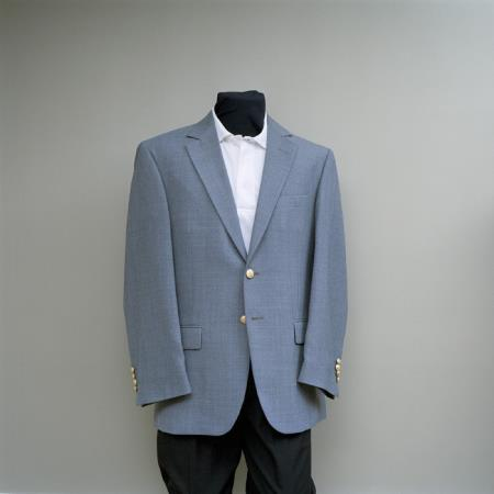 Mens 2 ButtonBlazer Heather Grey with brass gold buttons sportcoat