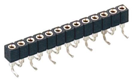 Preci-Dip 10 Way  Straight SMT 2mm SIL Socket, Solder, 3A 100 V ac, 150 V dc (5)