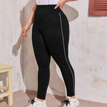 Leggings mit breitem Taillenband und Kontrast Paspel
