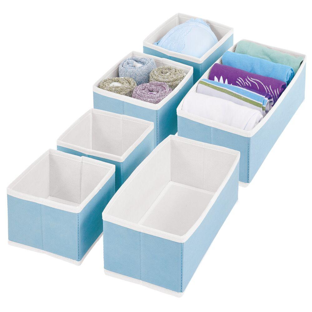 Fabric Drawer Organizer for Closet Storage with White Trim in Light Blue/White, 11.5