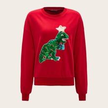 Sweatshirt mit Pailletten, Dinosaurier Muster und sehr tief angesetzter Schulterpartie
