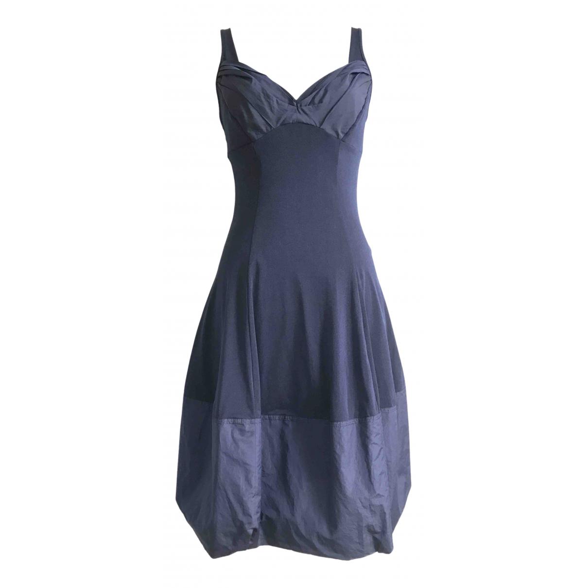 Non Signe / Unsigned Manche ballon Kleid in  Blau Synthetik