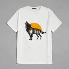 T-Shirt mit Wolf Muster