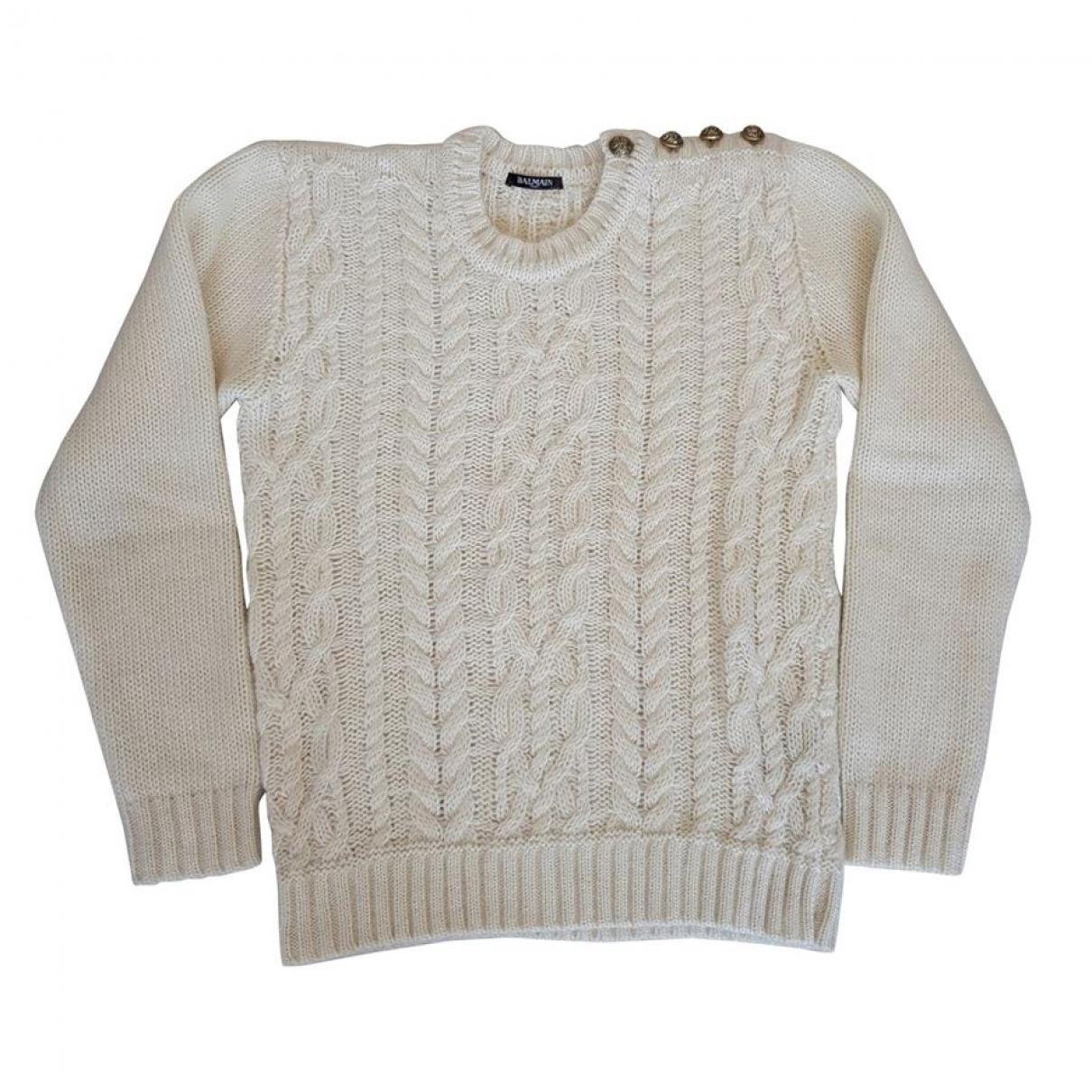 Balmain - Pull   pour femme en laine - beige
