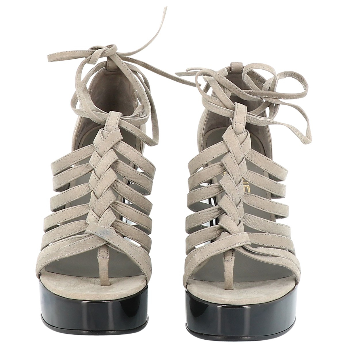 Chanel \N Grey Leather Sandals for Women 38.5 EU