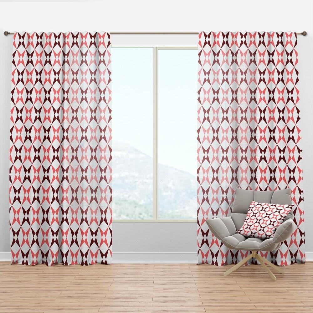 Designart 'Retro Grid Pattern I' Mid-Century Modern Curtain Panel (50 in. wide x 63 in. high - 1 Panel)