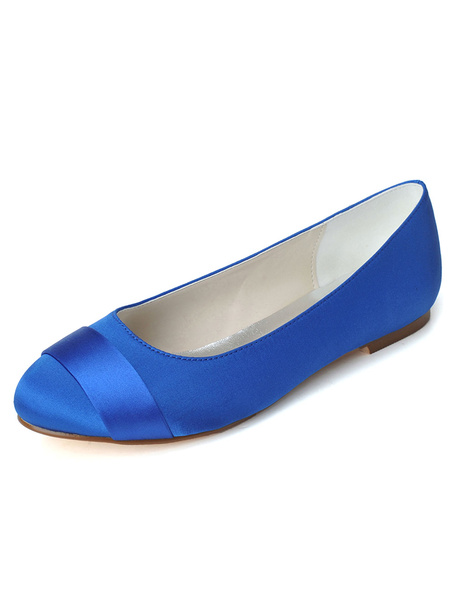 Milanoo Zapatos de novia de saten 1cm Zapatos de Fiesta Zapatos blanco  Plana Zapatos de boda de puntera redonda