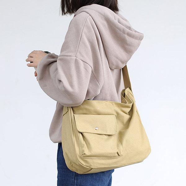 Canvas Leisure Crossbody Bag Solid Shoulder Bag
