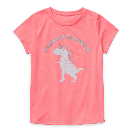Arizona Little & Big Girls Round Neck Short Sleeve Graphic T-Shirt, Xx-small (4-5) , Pink