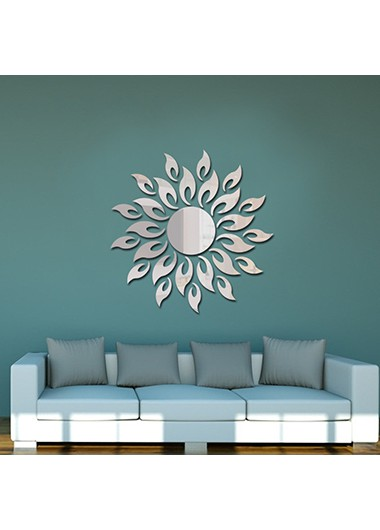 27pcs Silver Sunflower Print Acrylic Mirror Stickers - One Size