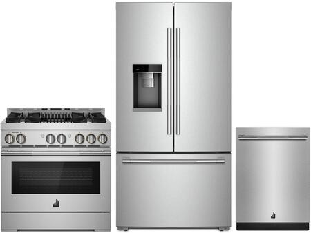 3 Piece RISE Series Wi-Fi Connected Kitchen Appliances Package with JFFCC72EHL 36