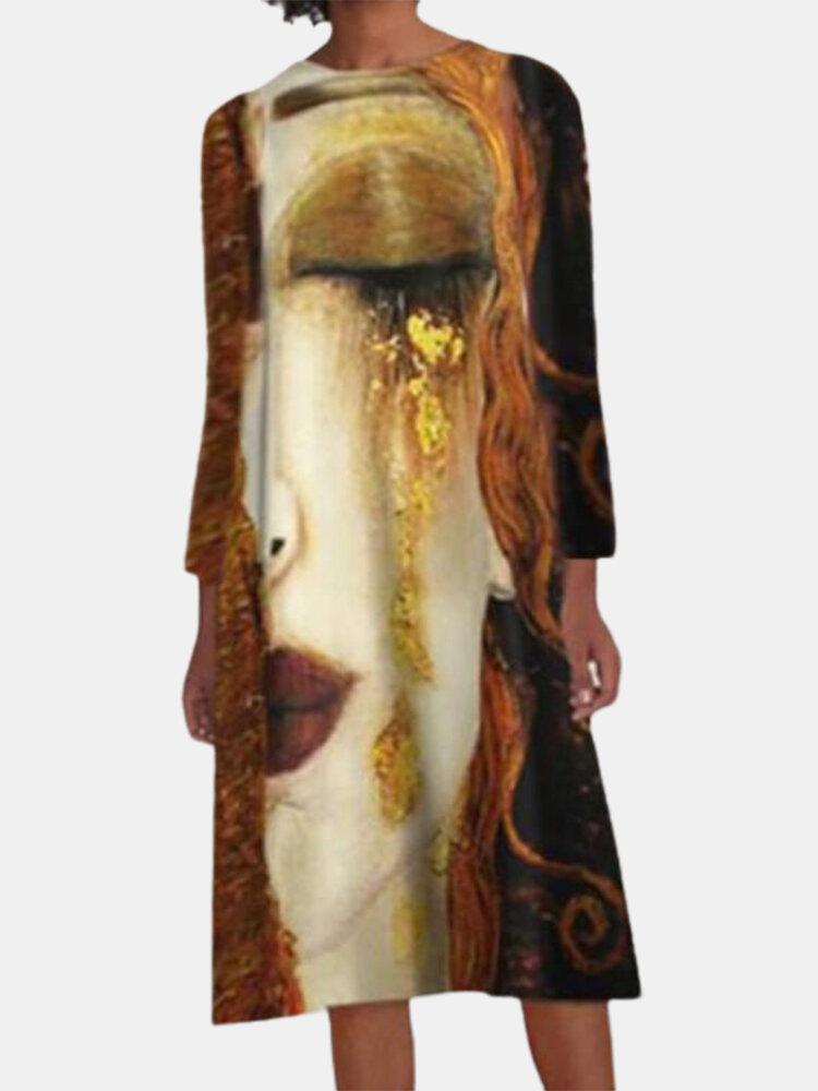 Print Long Sleeve O-neck Loose Vintage Dress For Women